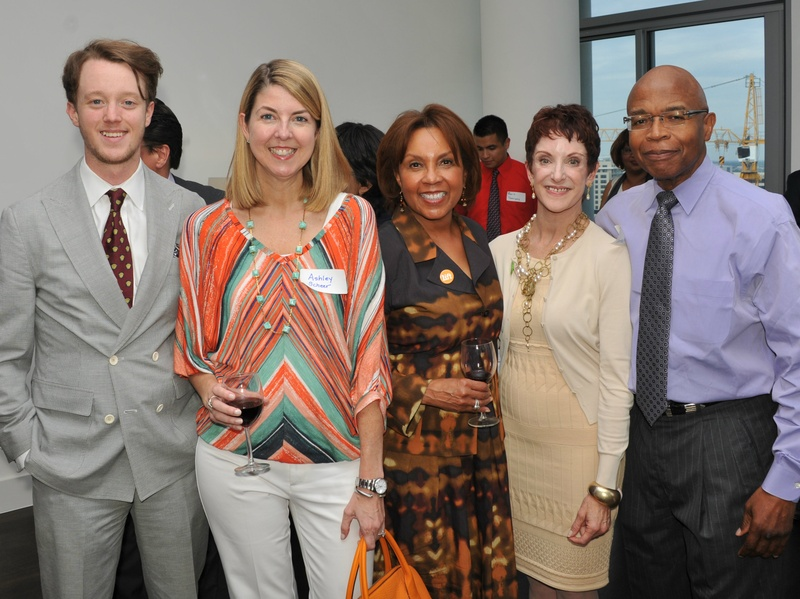 Dave Perry-Miller associate Tucker Bomar, LIFT board member Ashley Scheer, LIFT president Lisa Hembry, Dave Perry-Miller associate C C Allen, and Dr. Ron Washington at the A Toast to Literacy kickoff party at The House (Photo by Micheal Neal)