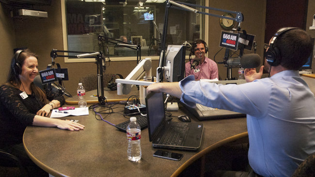 """Dave Perry-Miller associates Paige Elliott and Brian Bleeker sit in on the Sept. 28 episode of """"Tuttle Talk."""" (Photo by Jenny Colangan)"""