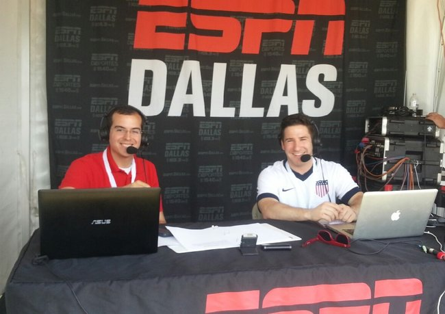 Jared Sandler (right) was paired with Ted Emrich for his first ESPN Dallas broadcast, which emanated from the HP Byron Nelson Championship.