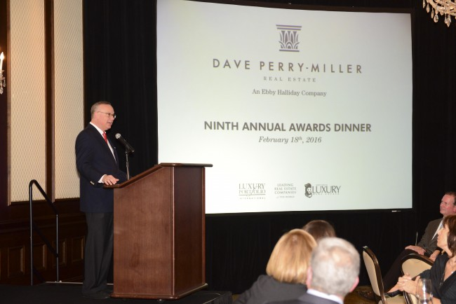 Dave Perry-Miller addresses agents at the Dave Perry-Miller Real Estate Ninth Annual Awards Dinner