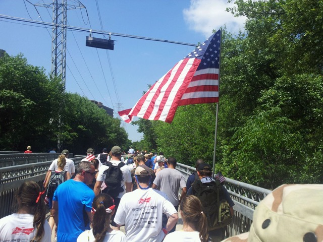 During the 2015 Dallas Memorial March, the pack makes its way along the Katy Trail for a 20-hour and 15-minute journey