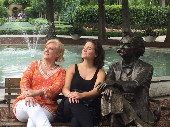 "Karen Fry, Dave Perry-Miller Real Estate agent, and Sarah Bockel, ""Carole King"" understudy, enjoy the scenery with Mark Twain."