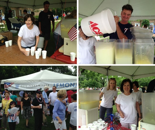 Dave Perry-Miller Real Estate agents Gaynelle Henger (top left), Melissa Jennings and Patsy Jones (bottom right) and Top-Shelf Beverage's Joe Cook at the 2016 Park Cities Fourth of July Parade.