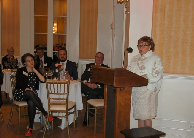 Peggy Millheiser receiving the Jessica Congrave Lifetime Achievement Award for Finch College Alumnae in NYC this May.