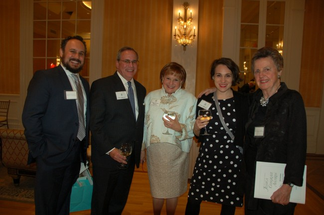 Peggy Millheiser's family celebrating her Jessica Congrave Lifetime Achievement Award. From left, son Robert, husband Dave, Peggy, daughter Anne.