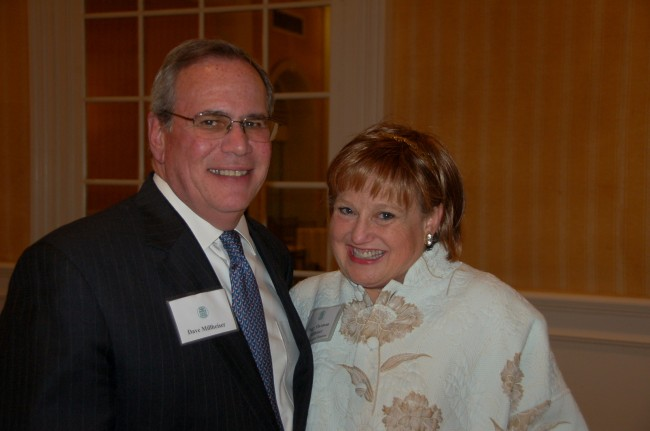 Dave Millheiser and Peggy Millheiser at the ceremony honoring recipients of the Jessica Congrave Lifetime Achievement Award for Finch College Alumnae in NYC this May.