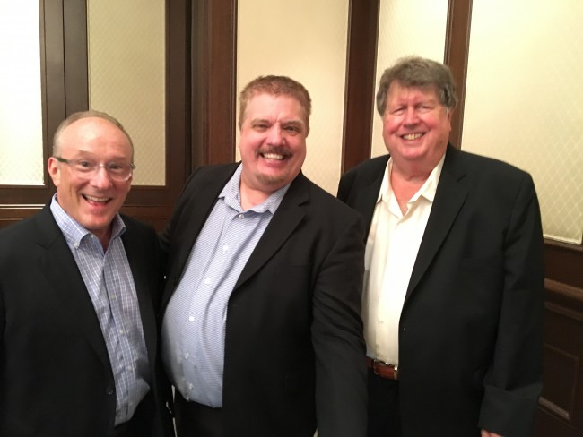 Ebby Halliday Vice President and Director of Marketing, Randall Graham (L), Corporate Comedian Dean Lewis (center), and Ebby Halliday CFO Ron Burgert (R)