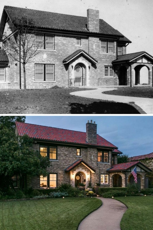 Dines and Kraft home at 6709 Lakewood Blvd, in 1926 and today, is listed by the Ponder & Ponder Group of Dave Perry-Miller Real Estate.
