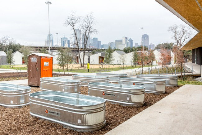 In the spring, residents of The Cottages at Hickory Crossing will be able to plant and grow their own food and herbs in these troughs.