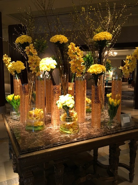 A gorgeous display of fresh-cut flowers greeted attendees in the lobby of The Ritz-Carlton Dallas.