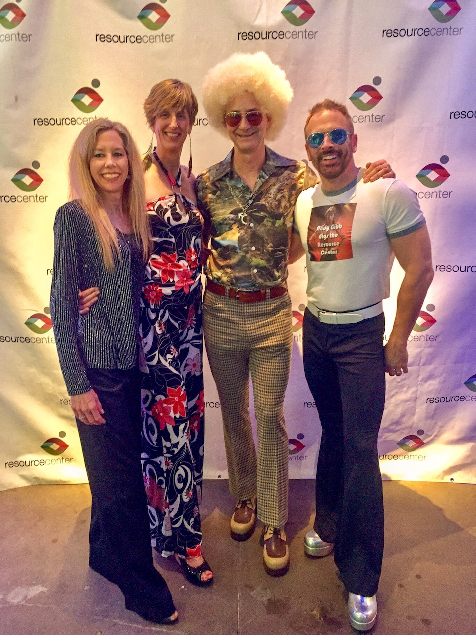 Atkinson, second from right, with friends at the 2017 Toast to Life fundraising event for Resource Center, which has raised over $200,000 every year for LGBTQ HIV/AIDS services.